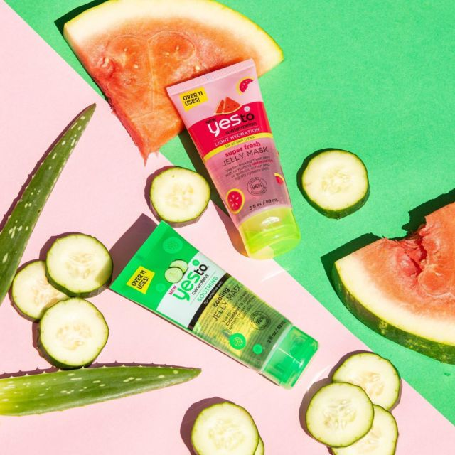 Freshen up your week with a Jelly Mask!   Formulated to offer ultra hydration they leave your skin feeling soft and looking dewy! 💦   Would you choose Cucumber🥒 or Watermelon? 🍉   #yesto #feelingfresh #watermelon #cucumber #facemask #hydrate #skincare #vegan #skincareproducts